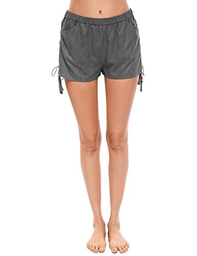 Zeagoo Women's Faux Suede Fringed Laced Side Casual Shorts