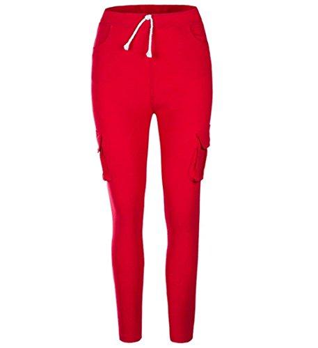 Skinny Vita Con Matita Monocromo Con Donna Libero Eleganti Coulisse Rot Pantaloni Battercake Tempo Fashion Cargo Casuale A Donne Pantaloni Elasticità Elastica Pantalone Pantaloni Tasche 1UZYxUqE