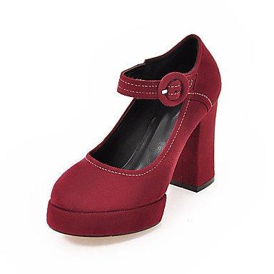 Talones de las mujeres Zapatos Primavera Verano Otoño Invierno Club de paño grueso y suave para oficina y del partido Carrera y vestido de noche de tacón grueso Hebilla Negro Gris Verde Rojo Red