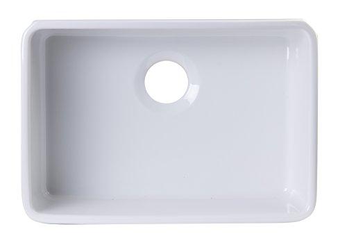[ALFI brand AB503UM-W 24 inch White Single Bowl Fireclay Undermount Sink Not for Apron Installation] (White Heat Single Bowl)