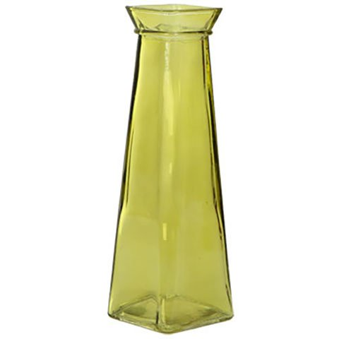 Green Tall Vase - Short Glass Bud Vase, 7.75
