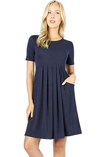 Women's Pleated Swing Dress Short Sleeve Casual T Shirt Loose Dress with Pockets - Navy (Large)