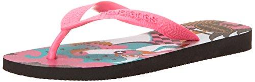 Havaianas Women's Fiesta Flip Flop, Black/Pink, 35 BR/6 M US
