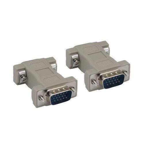 Kentek HD15 15 Pin Male to Male M/M VGA SVGA Port Adapter Gender Changer Coupler Converter Molded (Male Molded Gender Changer)