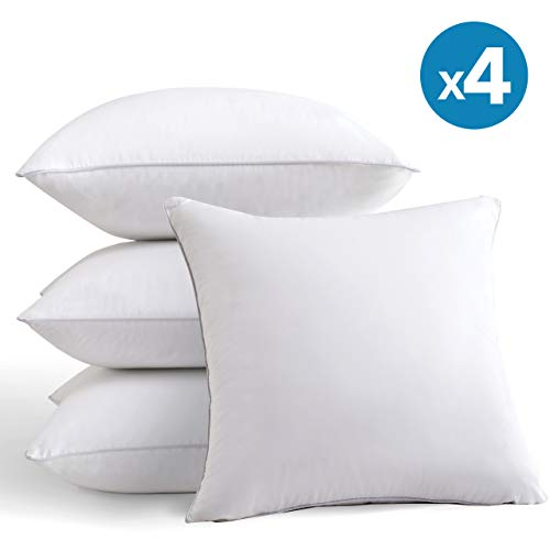 MoMA 18 x 18 Pillow Inserts (Set of 4) - Throw Pillow Inserts with 100% Cotton Cover - 18 Inch Square Interior Sofa Pillow Inserts - Decorative Pillow Insert Pair - White Couch Pillow (18 x 18)