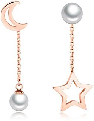 Womens Rose Gold Plated Moon and Star Drop Earrings with Shell Pearl by Richapex