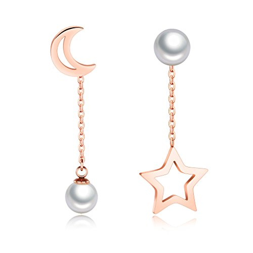 Pearl Moon Earrings - Womens Rose Gold Plated Moon and Star Drop Earrings with Shell Pearl by Richapex