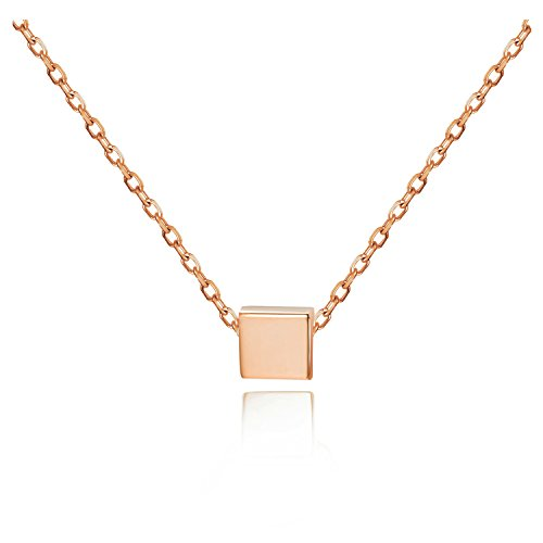 S.Leaf Simple Floating Square Pendant Necklace Silver Cube Charm Necklace (rose (Sterling Silver Square Pendant Charm)