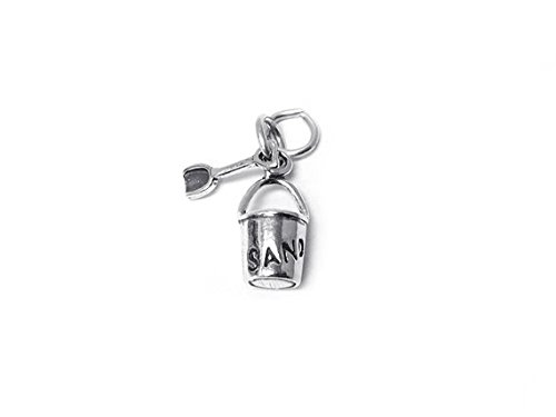 Pail and Shovel 2 Piece Charm Sterling Silver 16mm, Silver Beach Charms, 925 Sterling Silver Charms, Summer Charms, Sand Bucket Charms - SP336 ()