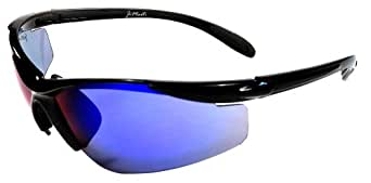 JiMarti JM01 Sunglasses for Golf, Fishing, Cycling-Unbreakable-TR90 (Black & Blue Mirror)