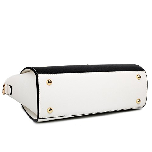 Miss Shoulder Bag Classic Winged amp; Look Leather Lulu White Black qxBrwXqRZ