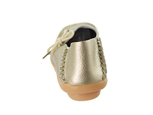Secolo Stella Donna Casual In Pelle Morbida Comfort Lace-up Annodato Pantofole Mocassini Scarpe Da Barca Pantofole Mocassini Guida Piatte Oro