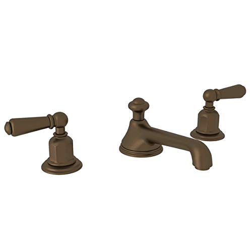Rohl U.3705L-EB-2 PERRIN & ROWE EDWARDIAN LOW LEVEL SPOUT WITH AERATOR WIDESPREAD LAVATORY FAUCET IN ENGLISH BRONZE WITH LEVERS AND POP-UP (INCLUDES BOTH PORCELAIN AND P&R LOW LVL SPT WDSPRD PRC EB ()