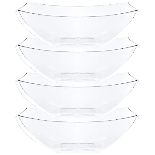 Plasticpro Disposable 128 ounce Square Serving Bowls, Party Snack or Salad Bowl, Extra Large Plastic Crystal Clear Pack of 4 ()