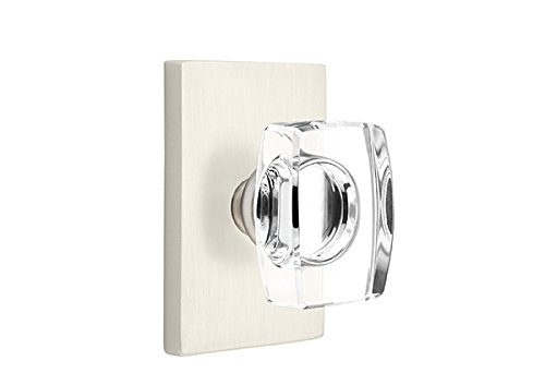 Passage Set, Modern Rectangle Rosette, Modern Windsor Crystal Knob, Satin Nickel