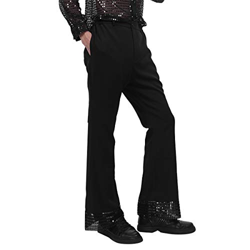 ranrann Men's Sequin Cuff Bell Bottom 70's Disco Pants Flared Trousers Dude Costume Black Large