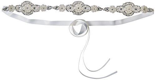 J-Picone Women's Bolton Hard Rock Crystal Bridal Belt with Crystal Appliques, Ivory, One Size by J-Picone