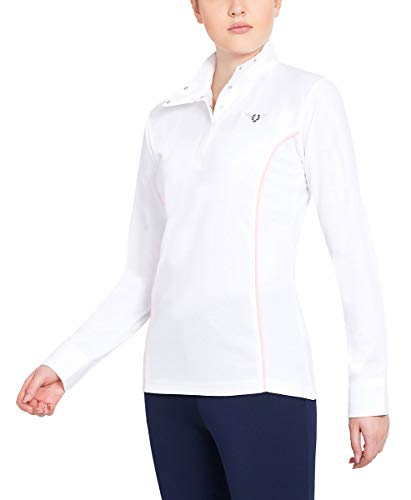 - TuffRider Women's Kirby Kwik Dry Long Sleeve Show Shirt, White/Pet Pink, Small