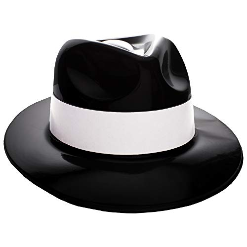 Windy City Novelties Black Plastic with White Band Gangster Hat Fedoras 12 Pack