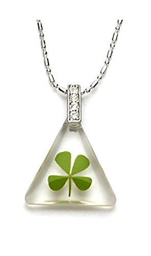 Genuine Four-leaf Lucky Clover Shamrock Crystal Amber Pendant Necklace, Clear Triangle !