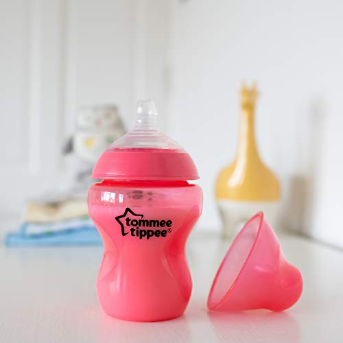 31H4w65qCoL - Tommee Tippee Closer To Nature Fiesta Baby Feeding Bottles, Anti-Colic, Slow Flow, BPA-Free - 9 Ounces, Multi-colored, 6 Pack (522597)