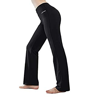 HISKYWIN Inner Pocket Yoga Pants 4 Way Stretch Tummy Control Workout Running Pants, Long Bootleg Flare Pants HF2 Black-XXL