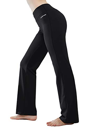 HISKYWIN Inner Pocket Yoga Pants 4 Way Stretch Tummy Control Workout Running Pants, Long Bootleg Flare Pants Black-M