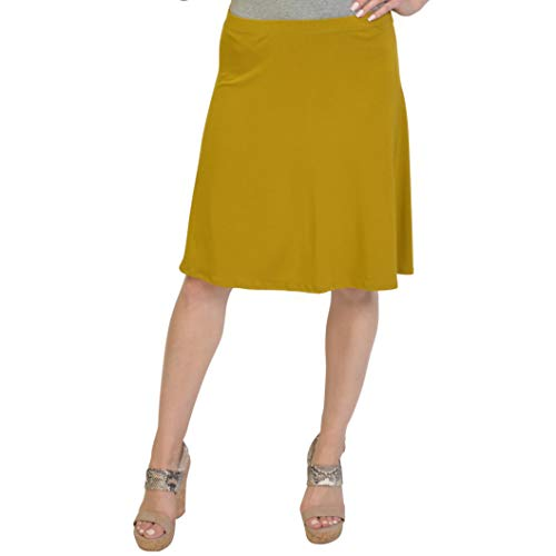 Stretch is Comfort Women's A-Line Skirt Mustard Yellow 2X -