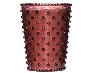 Cranberry #32 Hobnail Glass Candle by Simpatico ()