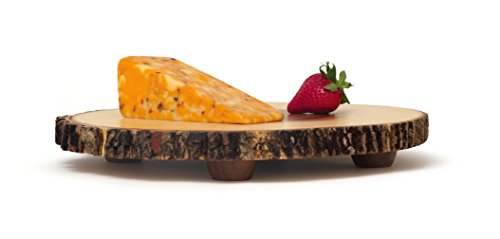 Lipper International 1030 Acacia Tree Bark Footed Server for Cheese, Crackers, and Hors D'oeuvres, Large by Lipper International (Image #2)