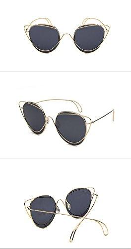 gris de Mujer de de DESESHENME Alta lentes de Dorado del Marco Diseño Espejo Metal Marrón de Sol Calidad Gafas Moda Gafas Sol Bastidor de color Aviador Lentes oro qq6p58