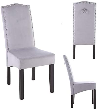 PS Global 2er Set Quality Knockerback Velvet Dining Chairs Einfache Montage Esszimmer, Küche, Chrom Knockerback Chairs 2 (Hellgrau)