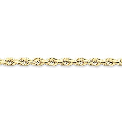 10 k fait de 6 mm corde de taille diamant Bracelet Chaîne 8 cm-Fermoir mousqueton-JewelryWeb