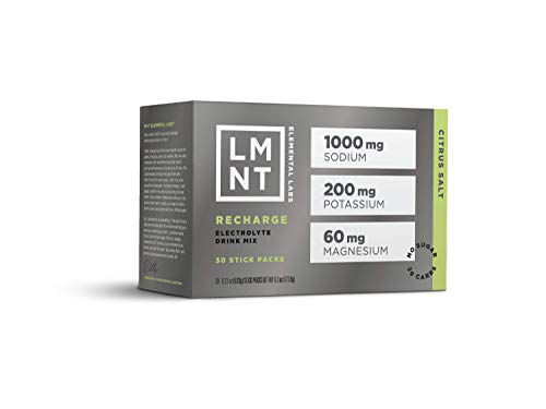 LMNT Recharge Electrolyte Drink Mix | Citrus Salt | 30 Hydration Powder Stick Packs | Keto, Paleo, Vegan, Gluten-Free, No Sugar, No Artificial Ingredients | Maximize The Energy Health Benefits of Salt