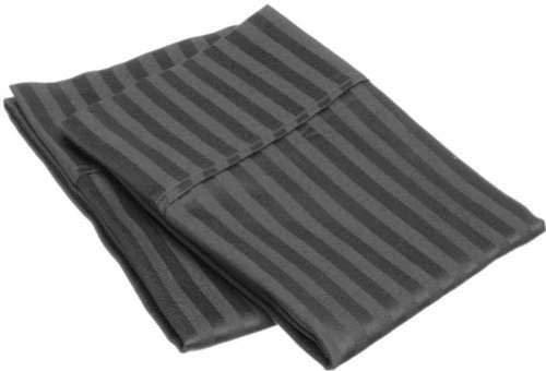 (Fabricalicious Linen Standard Size Pillowcases Set of 2 Ultra Soft 400TC Pure Cotton Pillow Cover - Dark Grey Stripe)