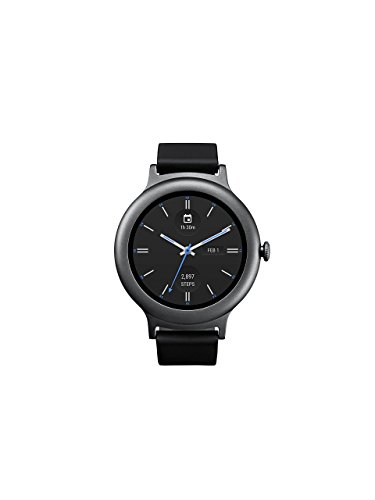 LG W270 Smartwatch Stainless Steel w/ Leather Band - Titanium, Black (Renewed)