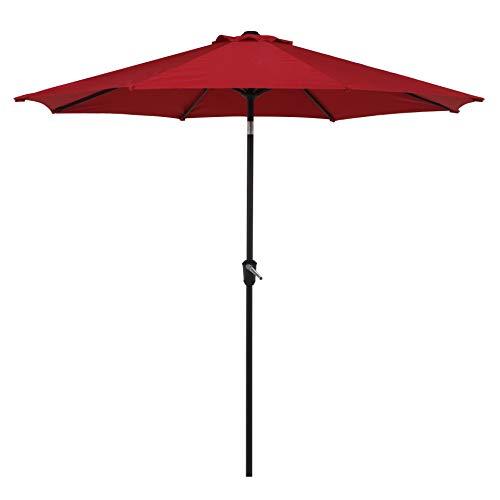 Grand patio 9FT, 8 Ribs Aluminum Patio Umbrella Auto Crank Push Button Tilt, UV Protective Beach Umbrella, Powder Coated Outdoor Umbrella, Red