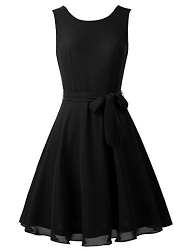Formal Short Chiffon Evening Dresses for Cocktail Party Size S Black KK625-1