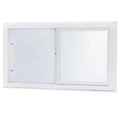 Left-Hand Single Sliding Vinyl Window White with Dual Pane Insulated Glass