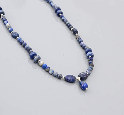 "Blue Lapis Lazuli Beads Necklace Strand with Sterling Silver findings 16"" Handmade Beaded jewelry"