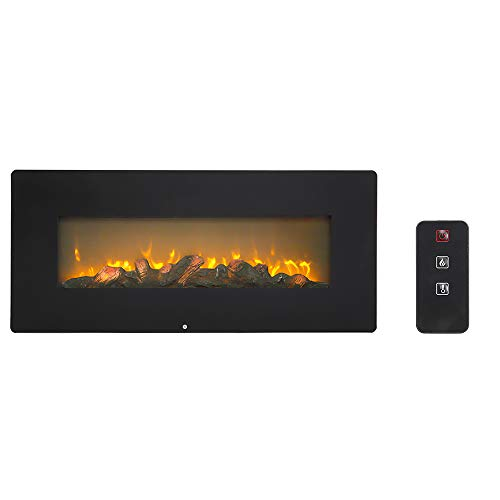onEveryBaby Electric Fireplace 42 Inch 1400W Wall Hanging Fireplace Single Color Fake Wood Heating Wire with Small Remote Control Black