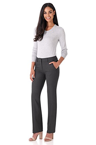 (Rekucci Women's Smart Stretch Desk to Dinner Straight Leg Pant w/Zipper Closure (18,Dark Charcoal Pinstripe))