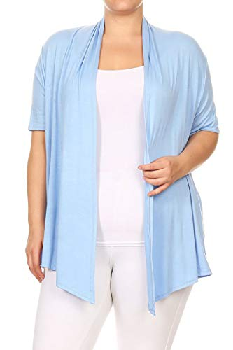 Solid Casual Loose Fit Open Front Draped Cardigan/Made in USA Light Blue 3XL by Fashion Stream