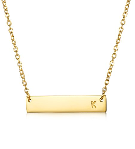 LOYALLOOK Stainless Steel Gold Tone Initial Bar Necklace Alphabet Pendant Necklace 16 with 2 extender K
