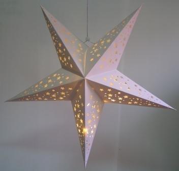 Amazon.com: Large White Hanging Star Lantern with Led Battery Lights ...