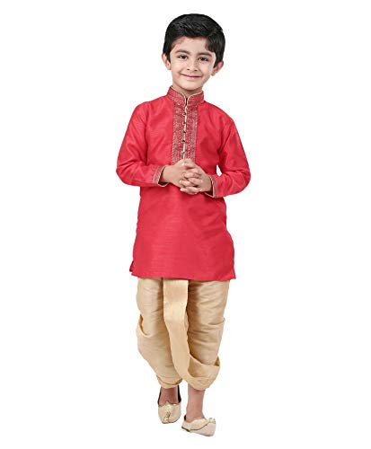 Kurta Dhoti (Kids-Boys-Kurta-Dhoti-Set-Indian-Ethnic-Cultural-Fancy-Party-Dress Red)