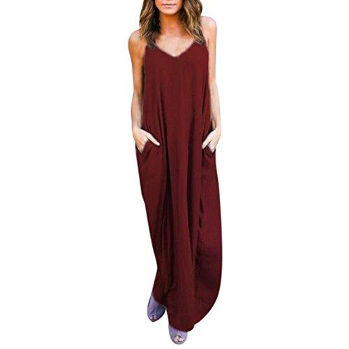 Minetom Mujer Verano Largo Vestido Cabestro Vestidos Sin Mangas Playa Casual Vestido De Fiesta De Graduación Vino rojo2