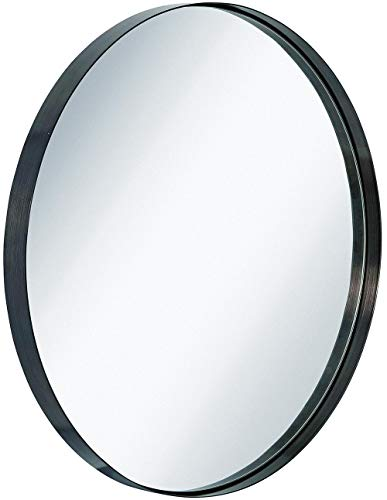 Hamilton Hills Contemporary Brushed Metal Black Wall Mirror | Glass Panel Black -