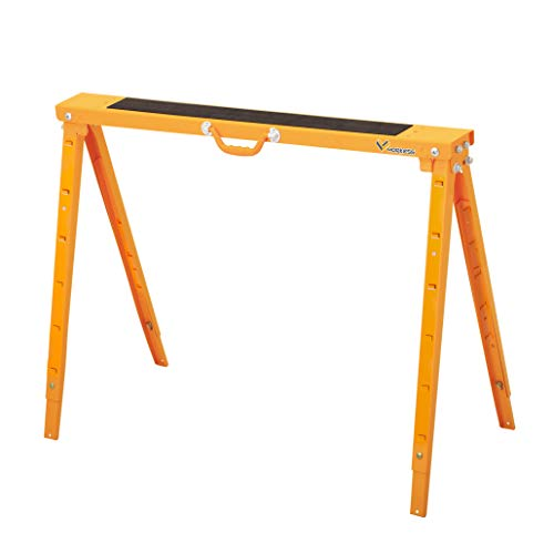 Heavy Duty Height Adjustable Steel, Metal Saw Horse, Jobsite Table with Telescopic Legs 1200 Lbs Yellow Single Pack WK-SH017A ()