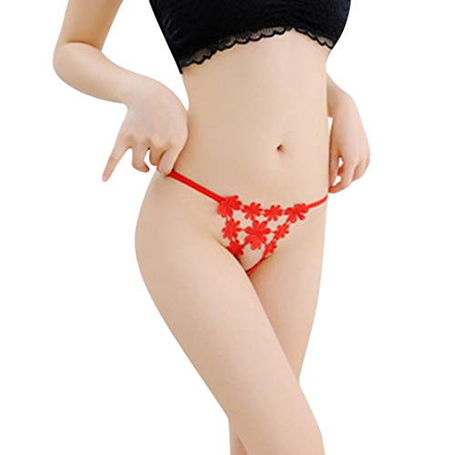 Elogoog-Women Womens Sexy Low Rise G-String Stretchy Embroidery Panties Lace Thong T-Back Underwear (Red)